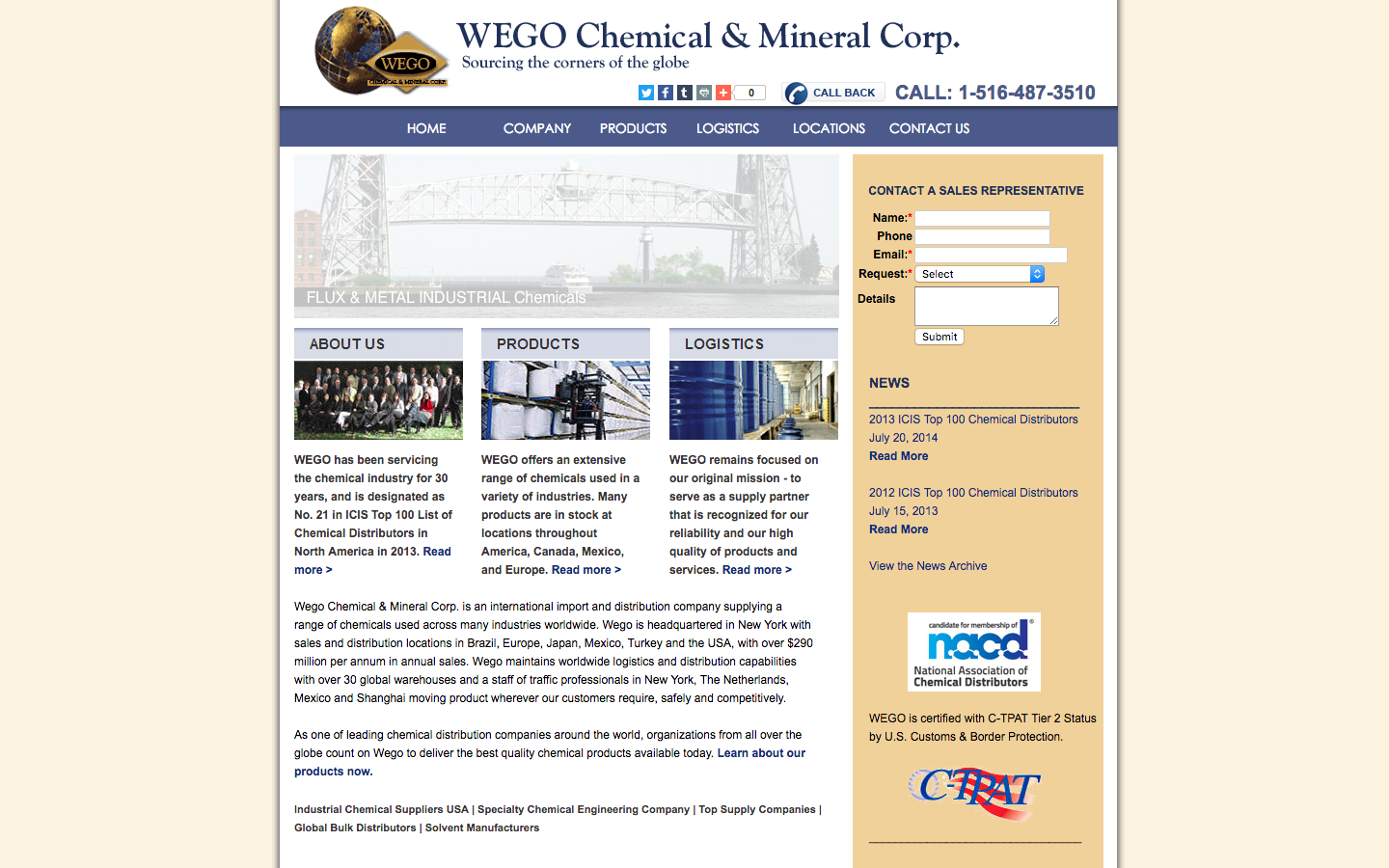 Wego Chemical website before.