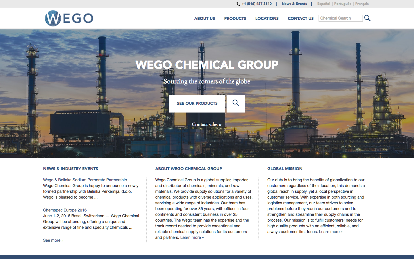 Wego Chemical website after.